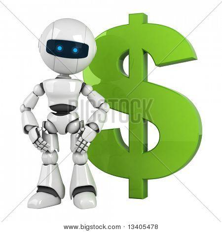 Divertido robot blanco quedarse con dólar verde