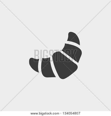 Croissant icon in a flat design in black color. Vector illustration eps10