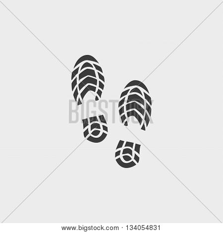 Imprint shoes icon in a flat design in black color. Vector illustration eps10