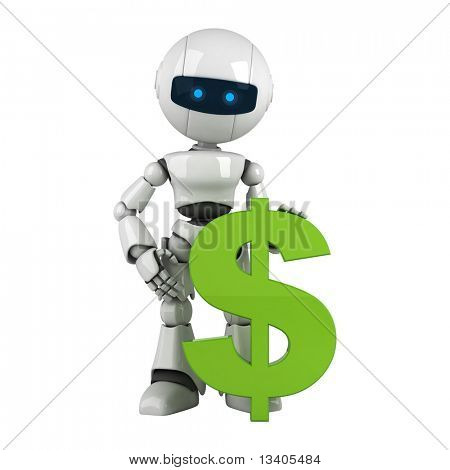 Funny white robot stay with green dollar
