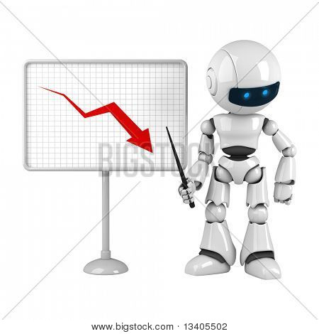 Funny white robot stay with graph