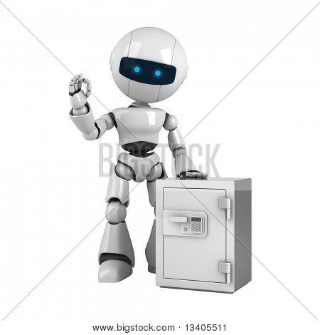 Funny white robot stay with safe