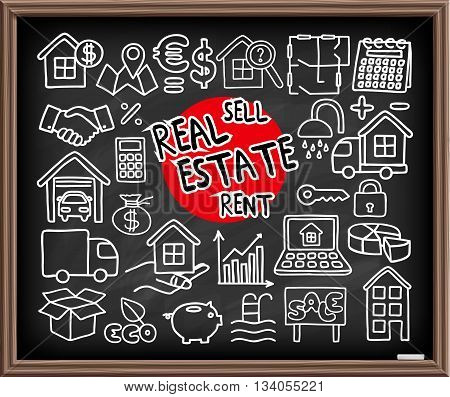 Real Estate set. Freehand doodle icons on chalkboard. Graphic design elements - selling house, moving, boxes, lending money symbols and more. Vector illustration
