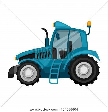 Tractor on white background. Abstract illustration of agricultural machinery.