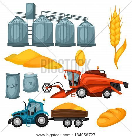 Agricultural set of harvesting items. Combine harvester, tractor and granary.