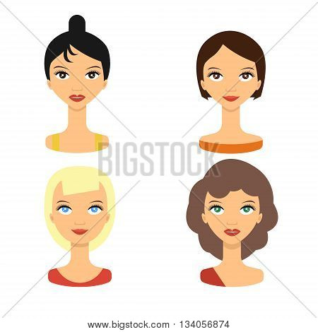 Set people faces icon. Set faces young women - vector stock. Beauty woman avatar.