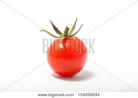 Cherry Grape Tomato Red Ripe Fresh Green Stem on white background