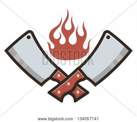 Kitchen knifes in fire