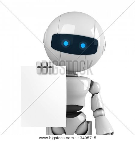 Divertido robot blanco quedarse con documento