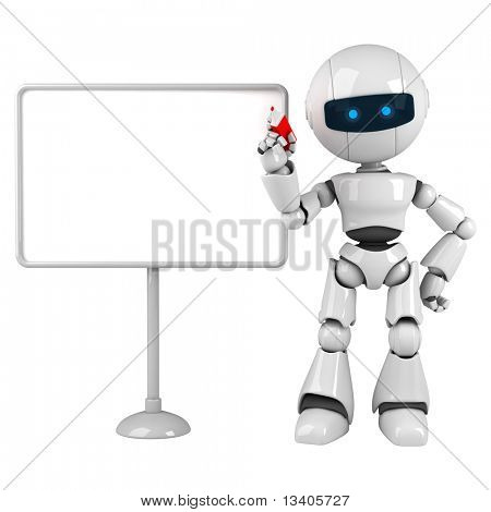 Estancia divertido robot blanco con tablero en blanco