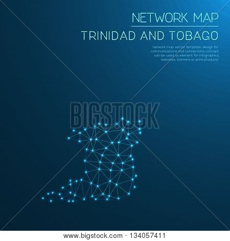 Trinidad And Tobago Network Map. Abstract Polygonal Map Design. Internet Connections Vector Illustra