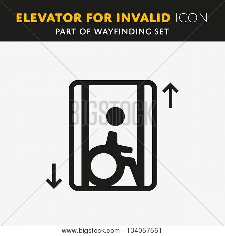 Disability man pictogram flat icon lift isolated on background