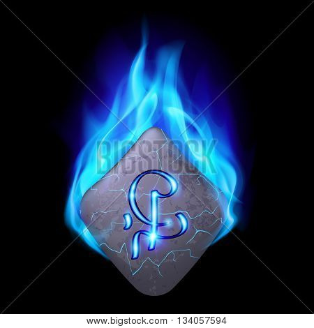 Mysterious diamond-shaped stone with magic rune in blue flame