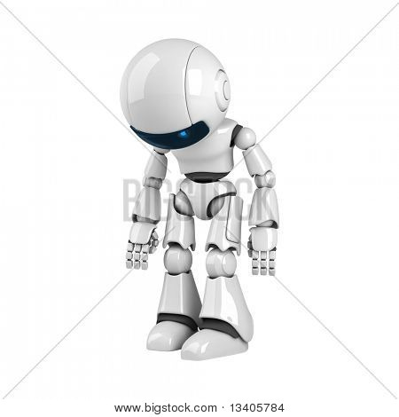 Funny white robot stay broken