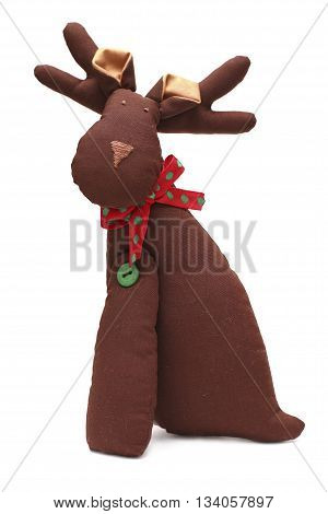 Brown Christmas reindeer isolated on white background