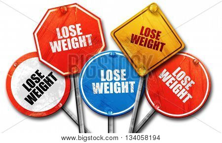 lose weight, 3D rendering, rough street sign collection