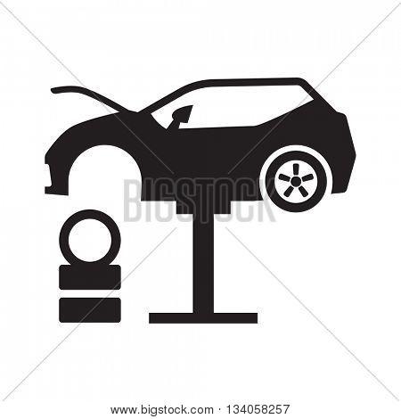 Car tire change icon // Black & White
