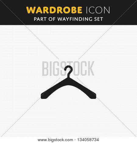 The hanger icon. Wardrope sign. Coat rack symbol. Flat Vector illustration
