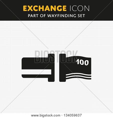 Vector Exchange icon. Atm sign, flat design symbol