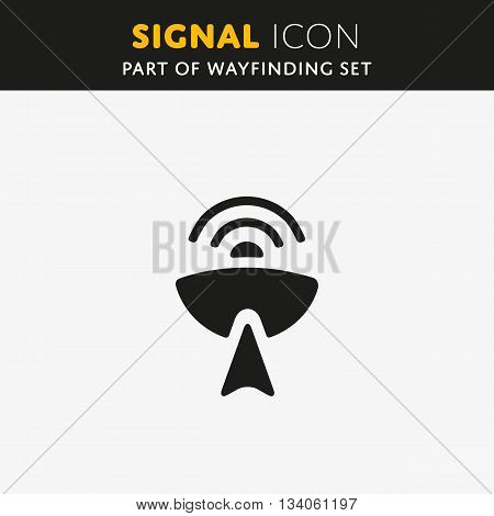 Radio antenna sending signal icon on white background. Wireless technology sign. Vector illustration symbol.