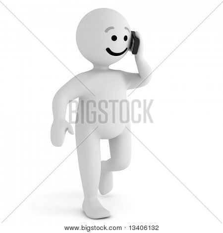 Funny smile character walk with mobile phone