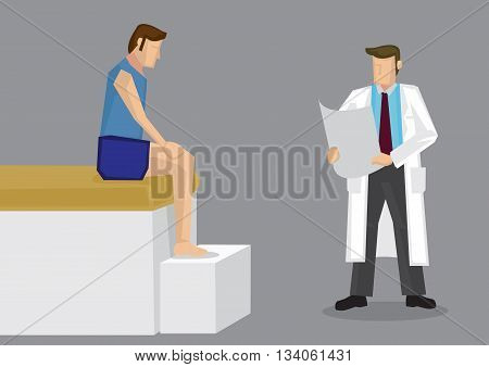 Cartoon vector illustration of sport athlete in tee shirt and shorts sitting on edge of clinic bed with therapist standing beside reading medical report.