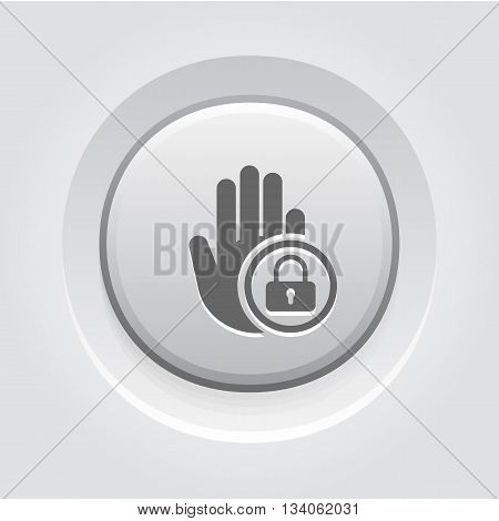 Restricted Area Icon. Flat Design Grey Button Design