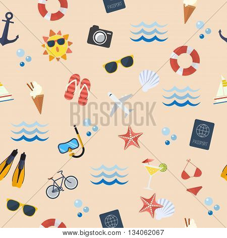 Seamless summer flat pattern. Flat style design