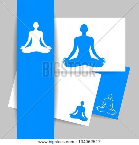 Yoga Lotus. Silhouette of meditating person. Concept Identity presentation design for Yoga studio, Health Care center, Beauty salon, Spa, Relax, Meditation and itc. Vector graphic illustration.