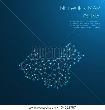 China Network Map. Abstract Polygonal Map Design. Internet Connections Vector Illustration.