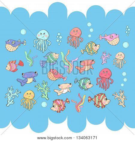 Marine life.Cartoon Sea inhabitants isolated on a background.Fish set