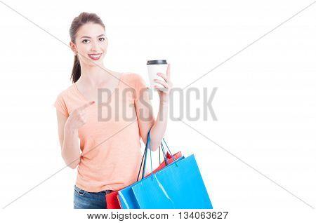 Shopper Woman Pointing At Paper Mug As Taking Coffee Break