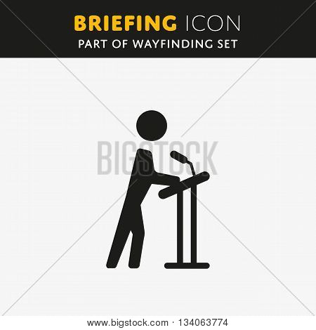 Vector Briefing icon. Presentation sign. Lecture symbol