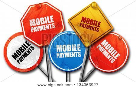 mobile payments, 3D rendering, rough street sign collection