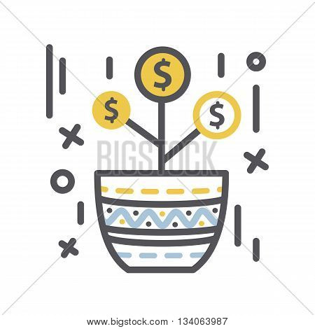 Money Growth.Vector Money tree in a pot.Vector thin line  business money concept icon isolated on a white background. Growth money concept