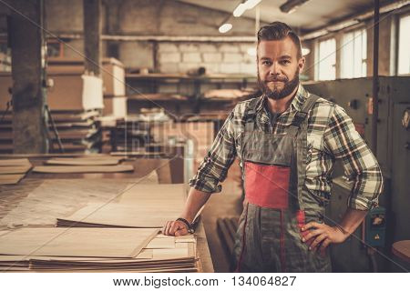 Carpenter posing on his workplace in carpentry workshop.