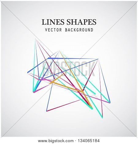 Colorful Lines shapes abstract isolated on white background vector illustration