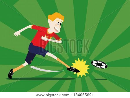 vector illustration cartoon of soccer player shooting a ball on the green soccer field background. soccer concept eps 10