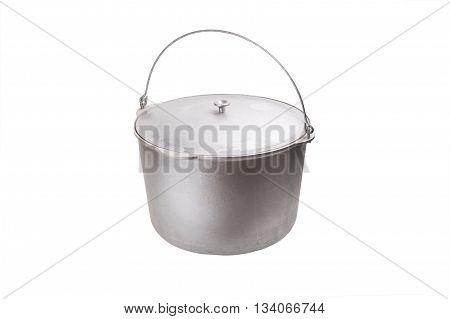 aluminum pot for travel isolated on white background