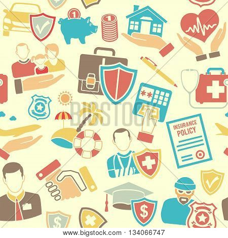 Insurance Seamless Pattern with Flat Icons Set for Poster, Web Site, Advertising like House, Car, Medical and Business.