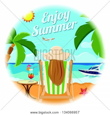 Vacation, Tourism and Summer Card Concept with Flat Icons for Mobile Applications, Web Site, Advertising like girl sits in chaise lounge with cocktail on the beach, boat, plane and palm trees.