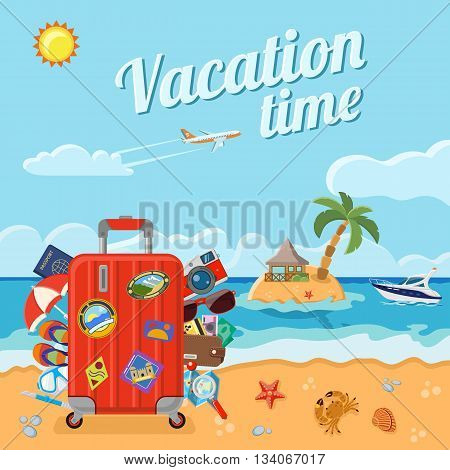 Vacation, Tourism and Summer Concept with Flat Icons for Web Site, Advertising like beach with a suitcase, card, crab, starfish, and an island with bungalows and palm trees, boat and airplane.