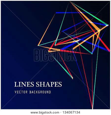 Colorful Lines shapes abstract isolated on blue dark background vector illustration