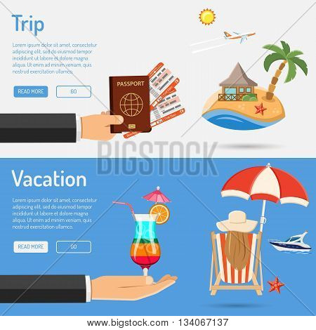 Vacation and Trip Banners with Flat Icons for Mobile Applications, Web Site, Advertising like Planning, Booking, Passport, Trip, Cocktail, Island, Aircraft and Bungalows.