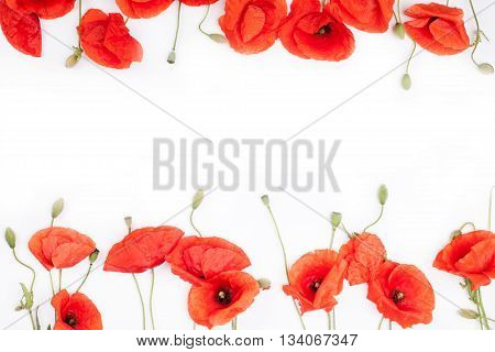 Heads of red weeds on the bottom and on top of white background top view