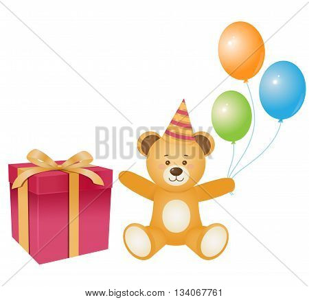 Smiling brown teddy bear with gift box baloons and flags. Design elements.Cartoon style.Isolated on wtite backround.Vector illustration