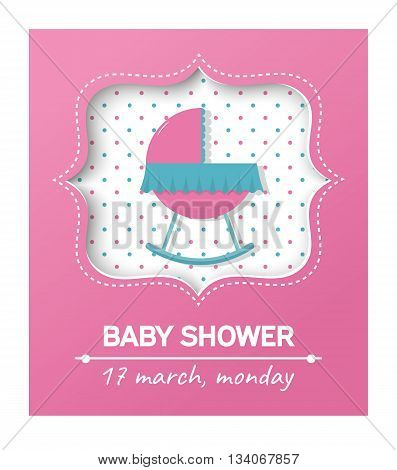 Invitation baby shower card with cradle.Card with place for your text.Vector illustration