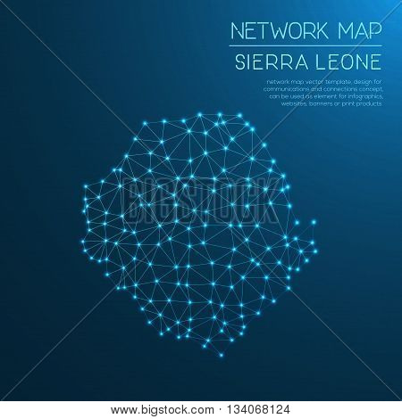 Sierra Leone Network Map. Abstract Polygonal Map Design. Internet Connections Vector Illustration.