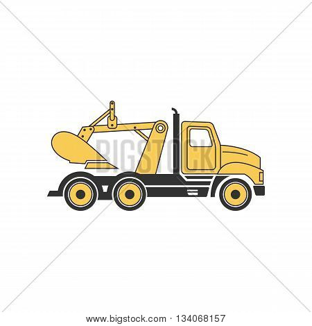 Line drawing yellow digging truck vector illustration isolated on white background.