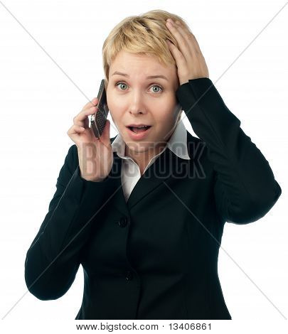 Young Business Woman Shocked By Phone Talk